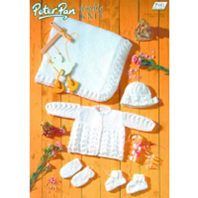 Peter Pan p801 Matinee Coat, Bonnet, Bootees, Mitts and Shawls